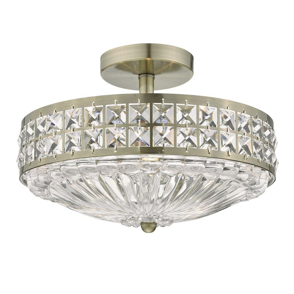 Olona 3 Light Semi Flush Antique Brass And Clear Crystal (Class 2 Double Insulated) BXOLO5375-17